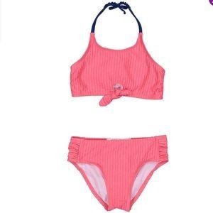 Coral Stripe Tie-Front Halter Bikini top & bottoms